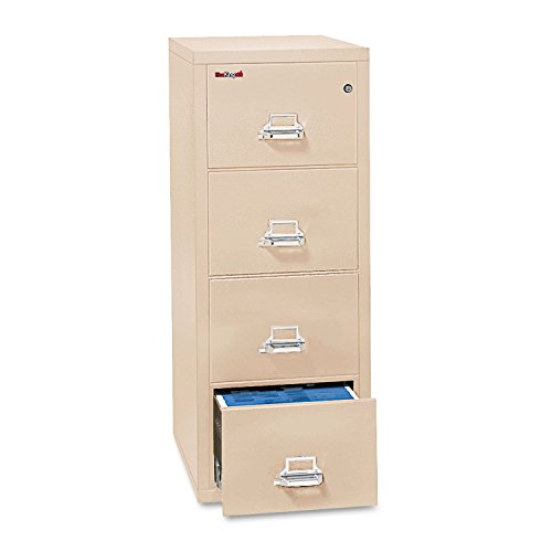 4-Drawer Vertical File, 17-3/4w x 31-9/16d, UL 350 for Fire, Letter, Parchment