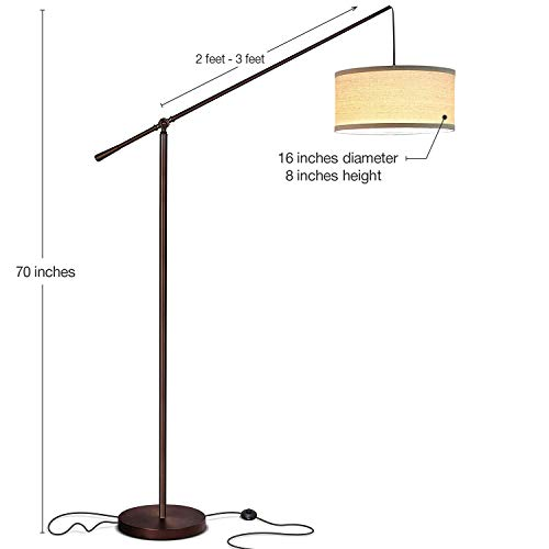 Brightech Hudson 2 Contemporary Arc Floor Lamp Stands Up Over The Couch From Behind Hanging