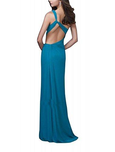 Kleid Vorder Spalte Mantel Perlen Schulter Abend Schein GEORGE mit Applikationen BRIDE einer Grün aFOYww8q