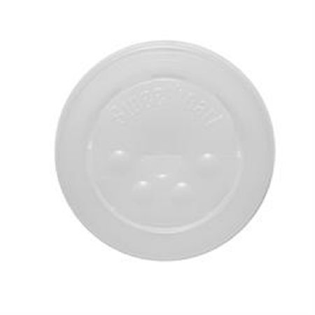 - Dart Solo L16BL-0100 12-21 oz. Translucent Flat Plastic Lid with Straw Slot and Identification Buttons - 125/Pack