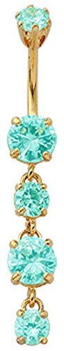 (Silver dangling round belly button ring with CZ Aquamarine crystal - Gold plated and packed in a lovely velvet pouch)