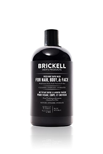Brickell Men's Rapid Wash, Natural and Organic 3 in 1 Body Wash Gel for Men, 16 Ounce, Fresh Mint Scent (Best Body Wash Products For Men)