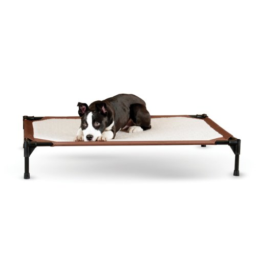 """31PP-444ukL K&H Pet Products Self-Warming Pet Cot Replacement Cover Large Chocolate/Fleece 30"""" x 42"""" (Cot Sold Separately)"""
