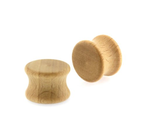 0G Solid Light Brown Double Flared Carved Organic Wood Ear Plugs Gauges by L & L Nation