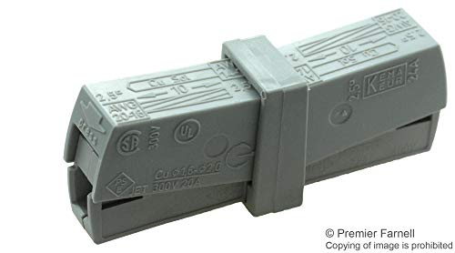 - 224-201 - Standard Terminal Block, Grey, 224 Series, 2 Contacts, Terminal Block, Cable Mount, 16 AWG, (Pack of 50) (224-201)