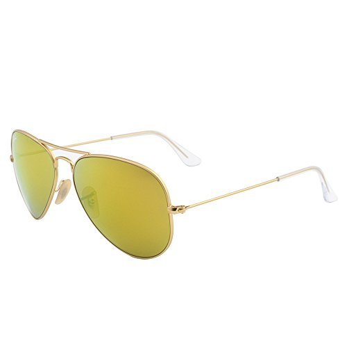Ray-Ban RB3025 Aviator Flash Mirrored Sunglasses, Matte Gold/Brown Mirror Gold, 58 mm