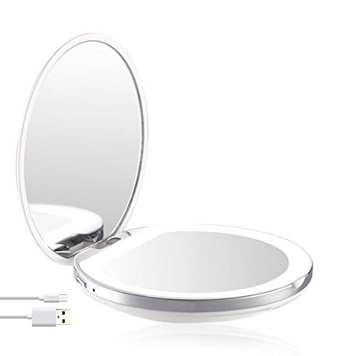 LED Lighted Travel Makeup Vanity Mirror with Lights and Magnification 1x/3x Magnifying, Illuminated, Portable, Folding, Perfect for Handbag, Pocket & Travel (White)