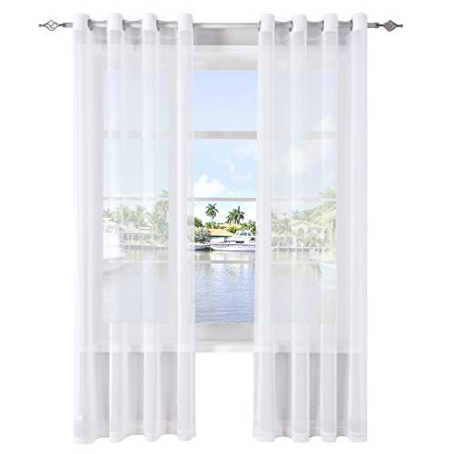 (DWCN White Sheer Curtains Linen Look Semi Transparent Voile Grommet Curtains for Living Dining Room Drapes 52 x 84 Inch Long, Set of 2 Panels)