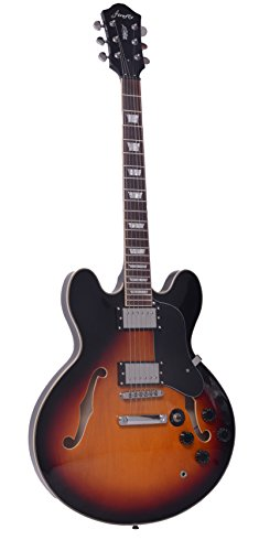 Full Size Hollow body Electric Guitar with Cable, and Picks (Sunburst)