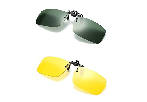 2PCS Polarized Day Night Vision Flip-up Clip-on Lens Driving Glasses Sunglasses For Man And Women
