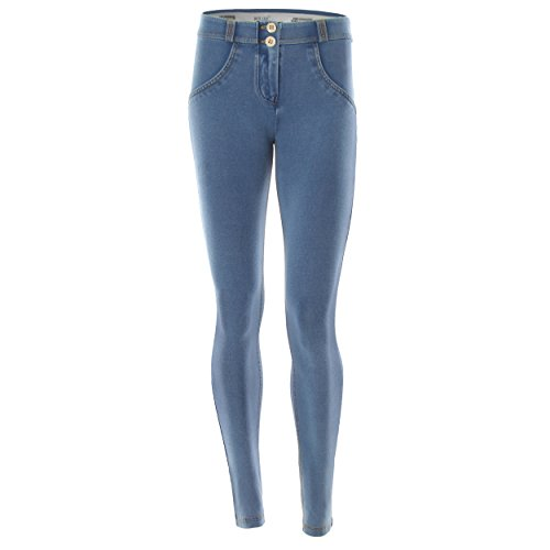 Pantalone jeans Gialle Freddy Jeans Donna Blu Skinny Lungo Chiaro cuciture awRqwdY