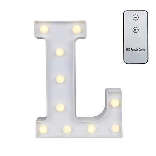 Carry360 LED Marquee Letters with Remote Control, Plastic LED Letter Lights Alphabet Light Up Sign Decoration, Letters A - Z, Numbers 0-9, Symbol & (L) -