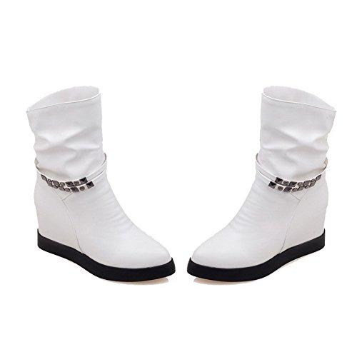 AllhqFashion Mujeres Pu Caña Baja Sólido Sin cordones Tacón Alto Botas Blanco