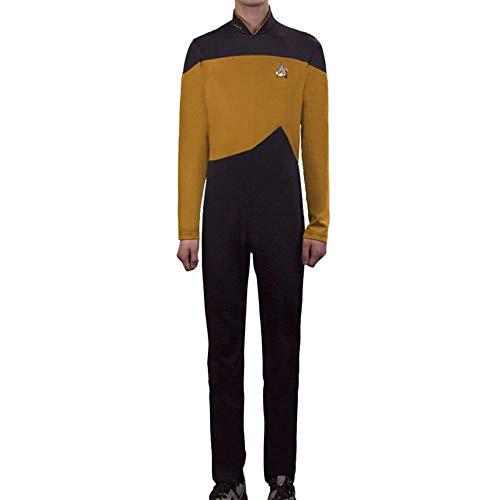 PIAOL Star Trek Role Playing Costume TNG Halloween Costume Ball Leotard Stretch Tights,Yellow-M ()