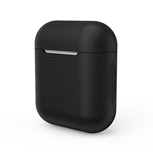 Xberstar Silicone Shock Proof Protective Case Sleeve Skin Cover for Apple AirPods True Wireless Headphone Charging Box (Black)