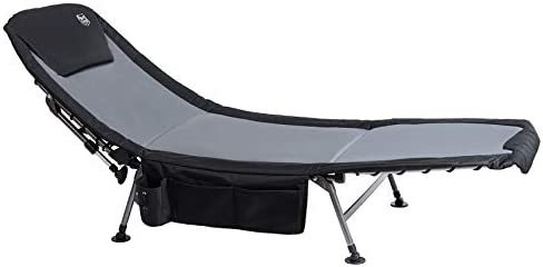 Timber Ridge Camping Cot XL Folding Supports 350 lbs Utility Adjustable Reclining Seat Full Padded Fishing Bed Heavy Duty Portable with Carry Bag, Side Storage Bag