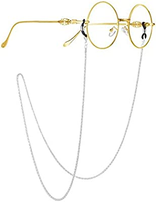 089f7280f8f277 Milopon Brille Kette Sonnenbrille Halter Gläser Schnüre Gurt Brillen Halter  mit Antirutsch Ringe 79 cm (Silbern)