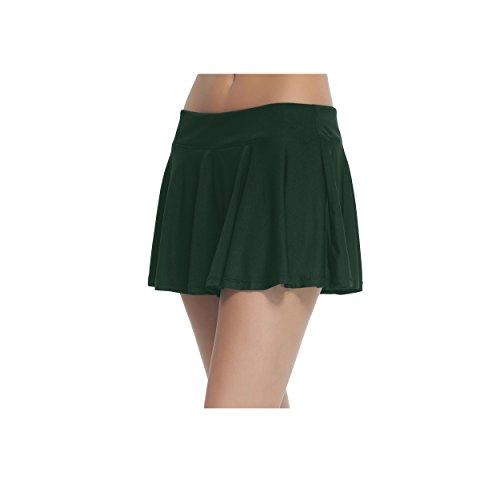 Women's School Running Underneath Skort Lightweight Ladies Club Mini Tennis Skirt with Shorts Deep Green XL Green Pleated Shorts