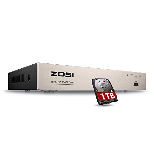 ZOSI 8CH 1080P Surveillance DVR Video recorders with 1TB Hard Drive Supports 4-in-1 HD-TVI CVI CVBS AHD 960H Security Cameras, Motion Detection, Remote Viewing, Hard Wired
