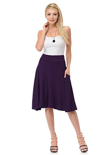 A-line Jersey - iconic luxe Women's Jersey Full A-Line Midi Skirt With Pockets Large Eggplant