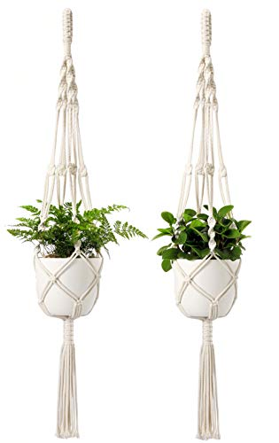 Mkono Macrame Plant Hangers with Pots 6.5 Inch Plastic Planter Included Indoor Hanging Planters Basket Holder (2 Plant Hangers and 2 Flower Pots) - Planters Plastic Decorative