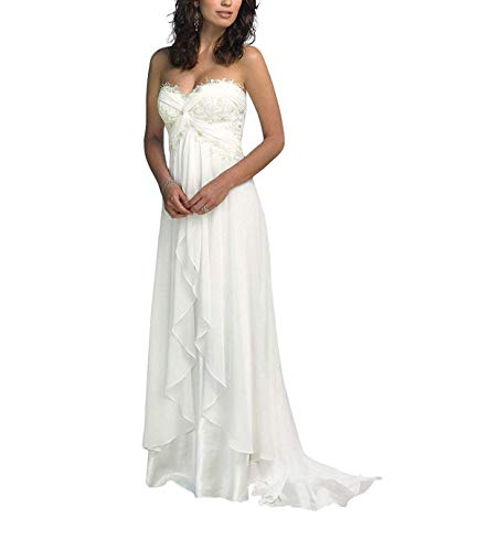 SZWT Nitree Women's Sweetheart Chiffon Long Beach Wedding Dress Bridal Gown White 14 -
