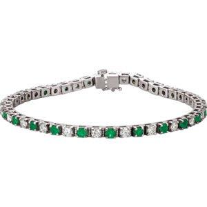 Jambs Jewelry 14K White Emerald & 2 1/3 CTW Diamond Bracelet