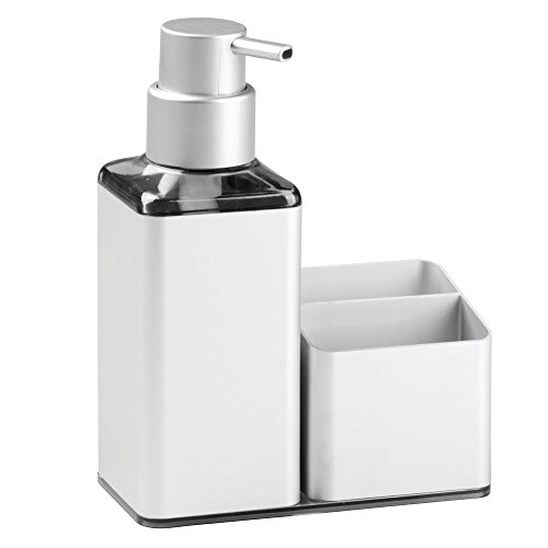 InterDesign Metro Ultra Rustproof Aluminum Soap Dispenser Pump with Sponge & Scrubber Caddy – Kitchen Sink Organizer, Silver
