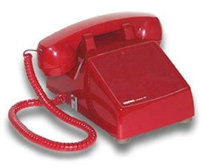 Viking Electronics No Dial Desk Phone Red Built-In Volume Ringer Hearing Aid (Red Dial Electronics No Viking)