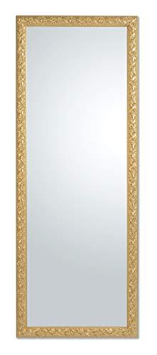 Espejo con Marco de Madera Estilo Barroco Dorado Oro cm 55x145 Hecho a Mano Made in Italy