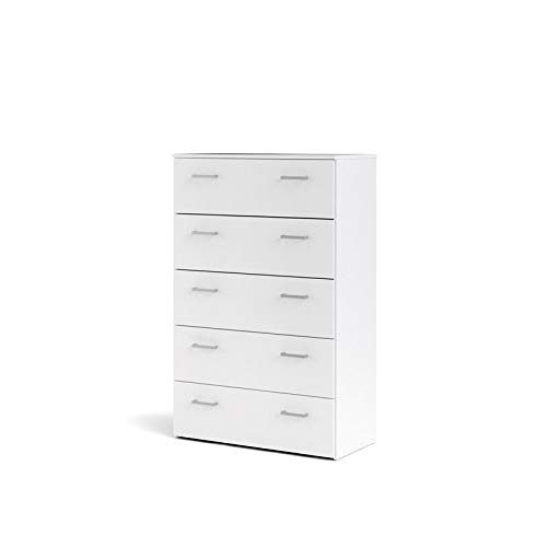 Tvilum 704224949 Space 5 Drawer Chest, White