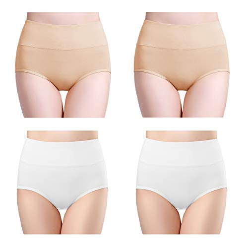 (wirarpa Women's 4 Pack Ultra Soft High Waisted Bamboo Modal Underwear Thin Breathable Briefs Panties White Beige Size 8)