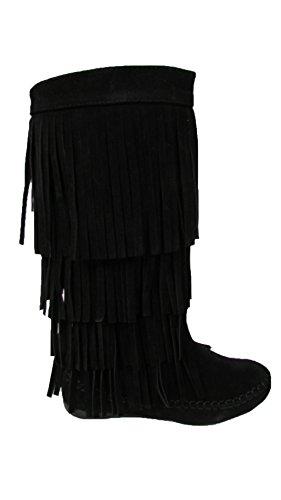 Womens Fashion Boots With Layered Fringe,Black,7.5