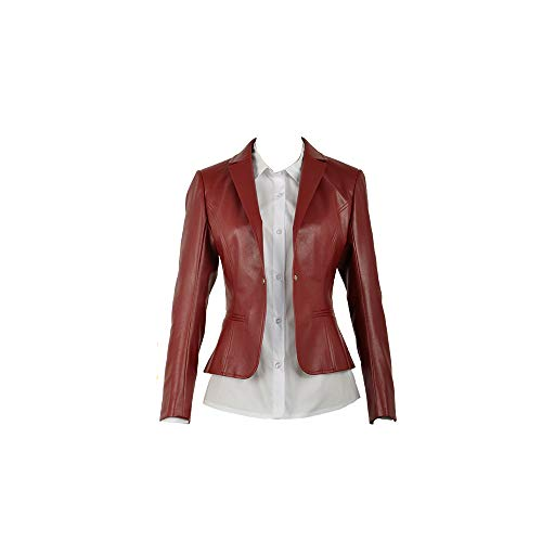 Cos-Love Resident Evil Women Cosplay Costume Faux Leather Red Jackets Short Moto Biker Jacket Bomber Coat and Shirt