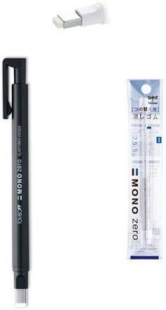 Tombow MONO Zero Pen-Style Eraser Refill Round Tip+Square Tip+4 Refills Black