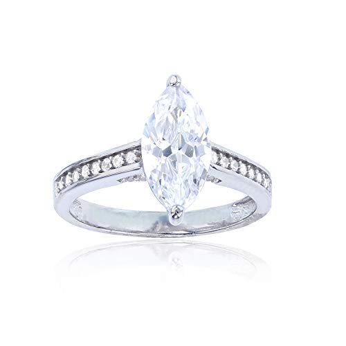 Sterling Silver Rhodium 6x12mm Marquise Cut Cubic Zirconia Engagement -