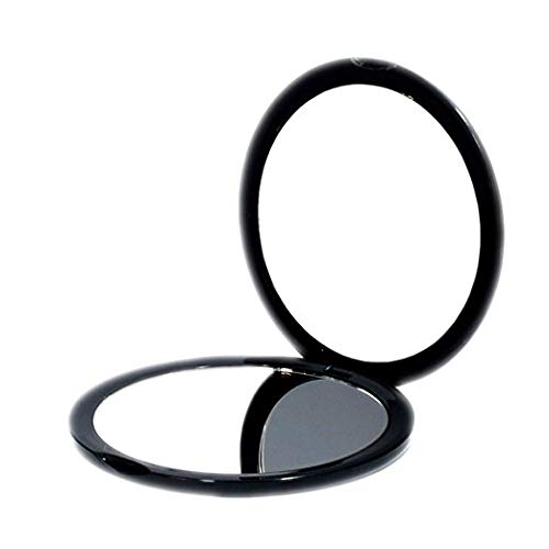 (Magnifying Compact Cosmetic Mirror-DeWEISN Elegant Compact Pocket Makeup Mirror, Handheld Travel Makeup Mirror with Powerful 10x Magnification and 1x True View Mirror for Travel or Your Purse (Black))
