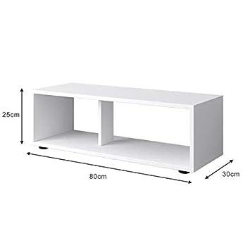 l 80 cm G/én/érique Boom Meuble TV Contemporain Blanc Mat