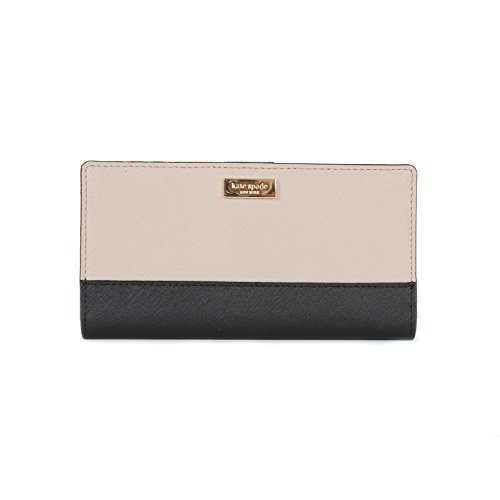 Kate Spade New York Laurel Way Stacy Saffiano Leather Wallet (Mousse Frosting / Black) by Kate Spade New York