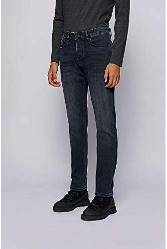 BOSS Męskie dżinsy Taber BC-P Tapered-Fit z wybielanego jeansu stretchowego: Odzież