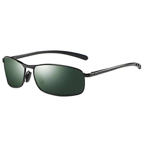 Sunglasses Frame Alloy - ZHILE Rectangular Polarized Sunglasses Al-Mg Alloy Temple Spring Hinge UV400 (Black, Green)