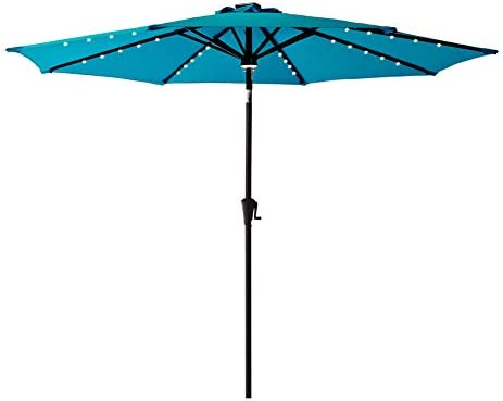 C-Hopetree 10 ft Outdoor Patio Market Umbrella with Solar LED Lights and Tilt – Aqua Blue