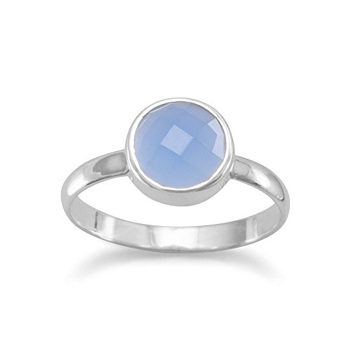Stackable Ring Faceted Round Blue Chalcedony Sterling Silver, (Blue Chalcedony Sterling Silver Ring)
