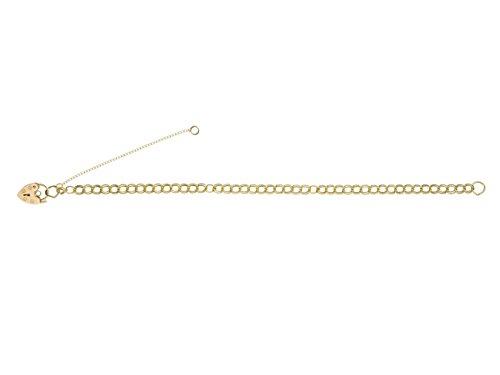 """Pour Femme Love Cadenas Coeur Double or jaune massif 9ct Chaîne à maillons Gourmette Bracelet Charms-17,8cm """"/18cm-4mm Largeur/épaisseur"""