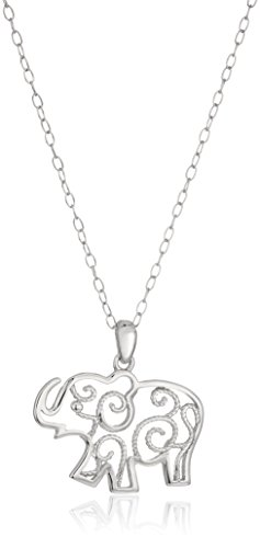 (Sterling Silver Filigree Elephant Pendant Necklace, 18