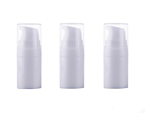 (3PCS Disposable Airless Pump Bottles-Empty Portable Plastic Mini Bayonet Cream Lotion Toner Cosmetic Toiletries Liquid Storage Containers Jar Pots(White))