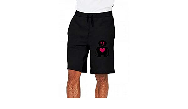 JiJingHeWang Cute Robot Mens Casual Shorts Pants