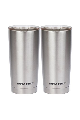 Simply Simily Stainless Steel Tumbler with Splashproof Lid - Double Wall Vacuum Insulation, 20 Oz (Pack of 2) ,