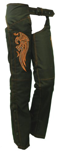 Ladies Textile Chaps w/Orange Embroidered Wings