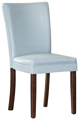 Benzara BM179980 Solid Wooden Side Chair, Set of Two, Blue